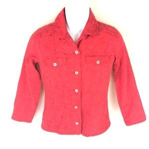 Chico's Red Stretch Perforated Floral Jacket 0